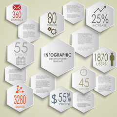 Abstract hexagon info graphic poster template