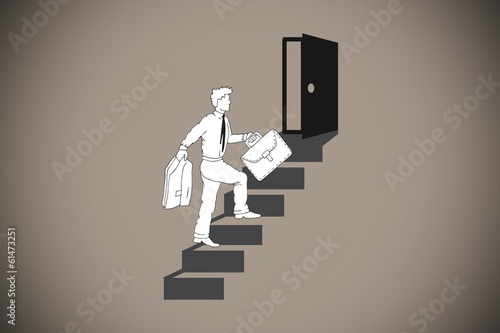 Composite image of businessman climbing the stairs to door