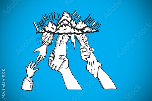 Composite image of bankruptcy and debt doodle with helping hands