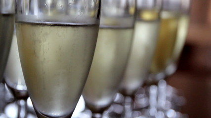 Up-close Image of the Sparkling Champagne glasses