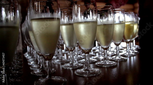 A set of filled Champagne Glasses