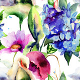Seamless wallpaper with Colorful Summer flowers - 61473685