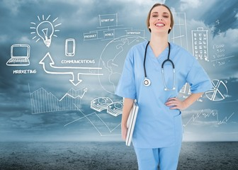 Composite image of young female doctor holding a notebook and la