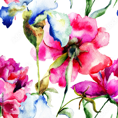 Foto op Canvas Iris Seamless wallpaper with Peony and Iris flowers