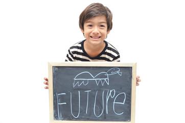 """Little boy showing blackboard word """"Future"""" on white background"""