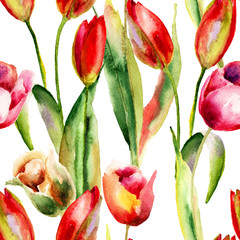 Seamless wallpaper with Original Tulips flowers