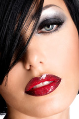 Beautiful woman with  sexy red lips and  eye makeup
