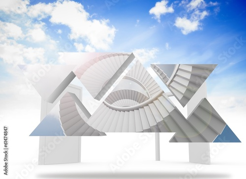 Composite image of winding staircase on abstract screen
