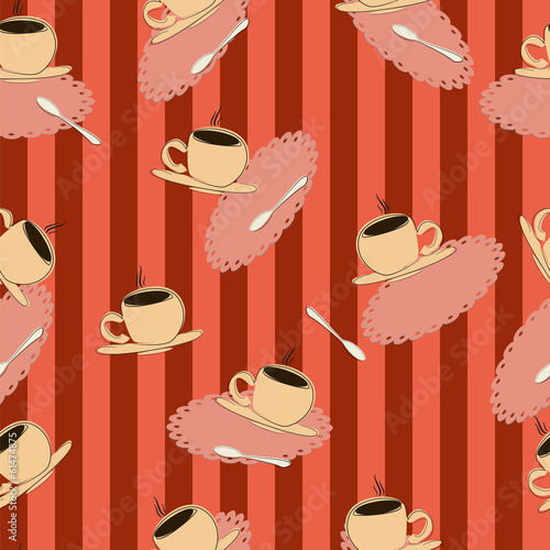 seamless, coffee cups on a red striped background