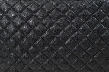 Close up of the black leather texture.