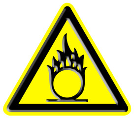 Oxidizer warning sign