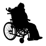 One handicapped man in wheelchair silhouette. Vector illustratio