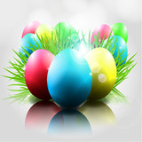 Happy Vector Easter  Background with Colorful Eggs grass