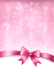 Holiday elegant background with gift glossy bow and ribbon. Vect