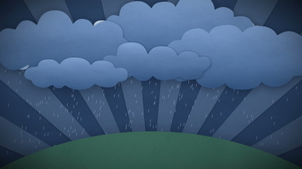 Changing Weather. Rain and Sun. Cartoon style. HD 1080.