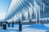 Fototapety Icicles on a pipe pipeline