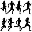 Set of silhouettes. Runners on sprint, women. vector illustratio