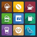 Coffee Flat Icons Set 44