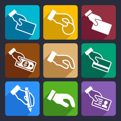 Hand with different objects Flat Icons Set 42