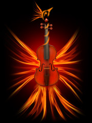 Violin as a firebird, the beauty of music