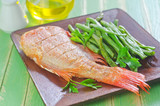 fried fish with green beans