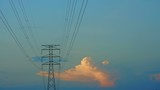 cloudscapes via transmission electric line