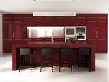Contemporary minimal red and white kitchen