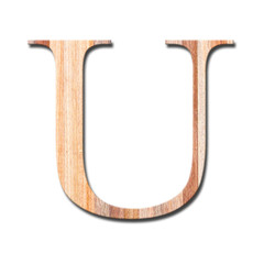 Wooden alphabet letter with drop shadow on white background, U