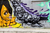 Colorful murales with face and skulls