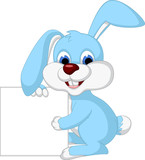 cute rabbit cartoon holding blank sign