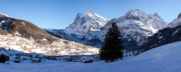 Panoramic View of Grindelwald in Switzerland.