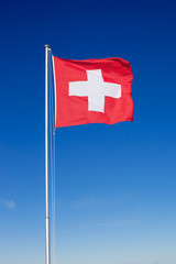 Swiss Flag on Metal Pole