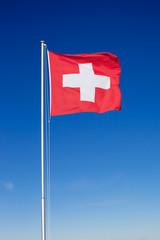 Swiss Flag on Metal Pole