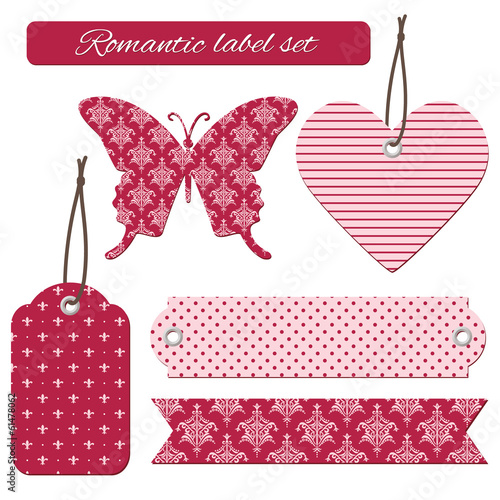 Romantic label tags set.