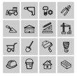 vector black construction icons set