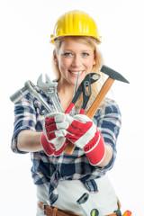 Weiblicher Handwerker mit Werkzeugen