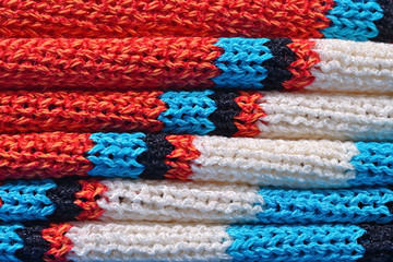 Stack of  knitted closeup