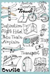Hand drawn travel set 01