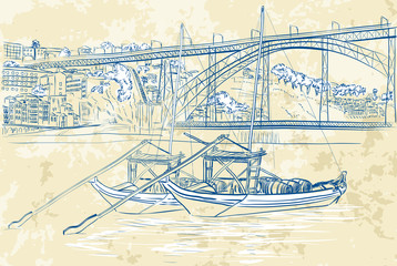 Vector illustration of rabelo boats in Porto, Portugal
