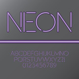 Purple Neon Tube Alphabet and Numbers, Eps 10 Vector