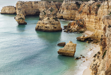 Panoramic view of Praia da Marinha, Algarve, Portugal.