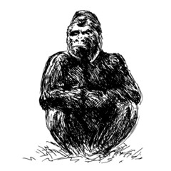 Drawing gorilla sitting. Vector illustration