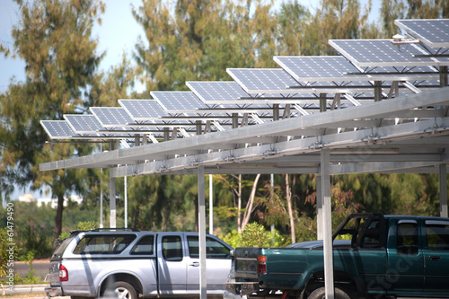 Solar cell on roof at car park. - 61479490