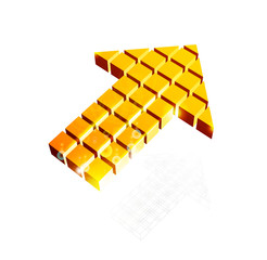 Arrow icon made of orange cubes