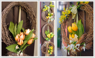 Easter wreath. Spring decoration on the wooden door of the house