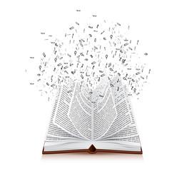 livre avec lettres qui s'envolent