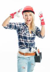 Aufgeregter weiblicher Handwerker