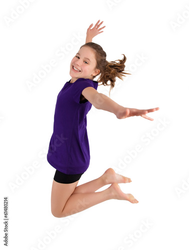 canvas print picture young girl jumping