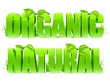 Green Organic and Natural words.