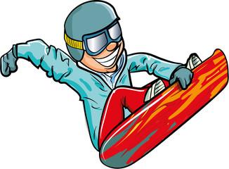 Cartoon snowboarder in the air